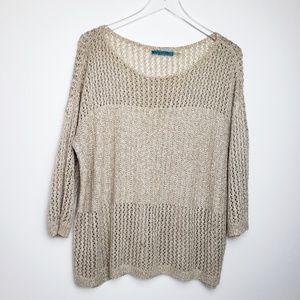 Alice + Olivia Open Knit Sweater L